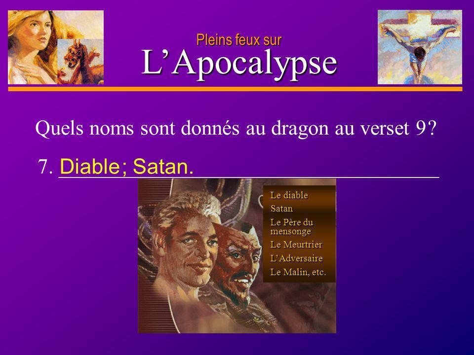 D anie l Pleins feux sur 12 LApocalypse Pleins feux sur Quels noms sont donnés au dragon au verset 9 ? 7. ____________________________________ Diable