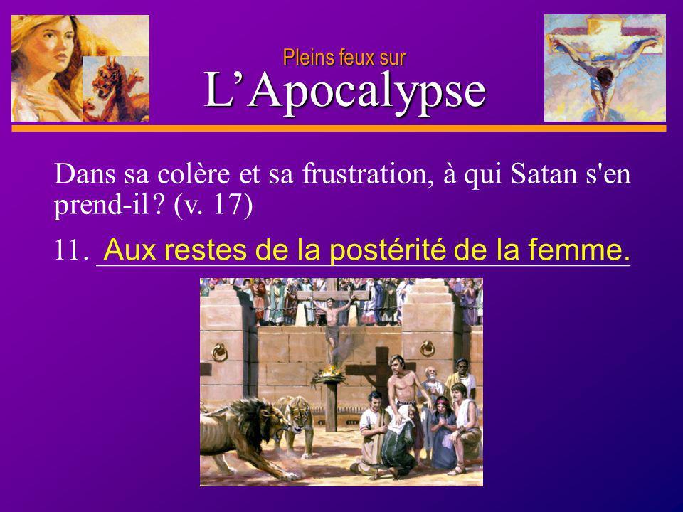 D anie l Pleins feux sur 22 LApocalypse Pleins feux sur Dans sa colère et sa frustration, à qui Satan s'en prend-il ? (v. 17) 11. ____________________