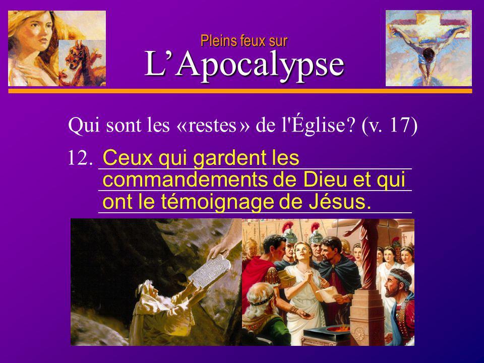 D anie l Pleins feux sur 24 LApocalypse Pleins feux sur Qui sont les « restes » de l'Église ? (v. 17) 12. _____________________________ ______________