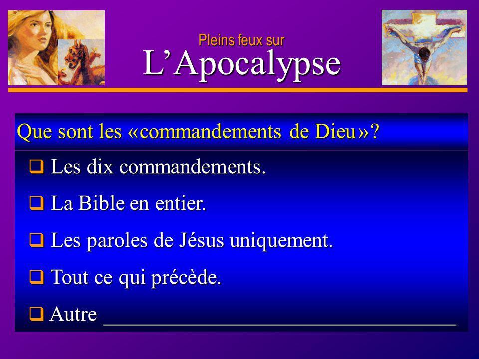 D anie l Pleins feux sur 26 LApocalypse Pleins feux sur Les dix commandements. Les dix commandements. La Bible en entier. La Bible en entier. Les paro