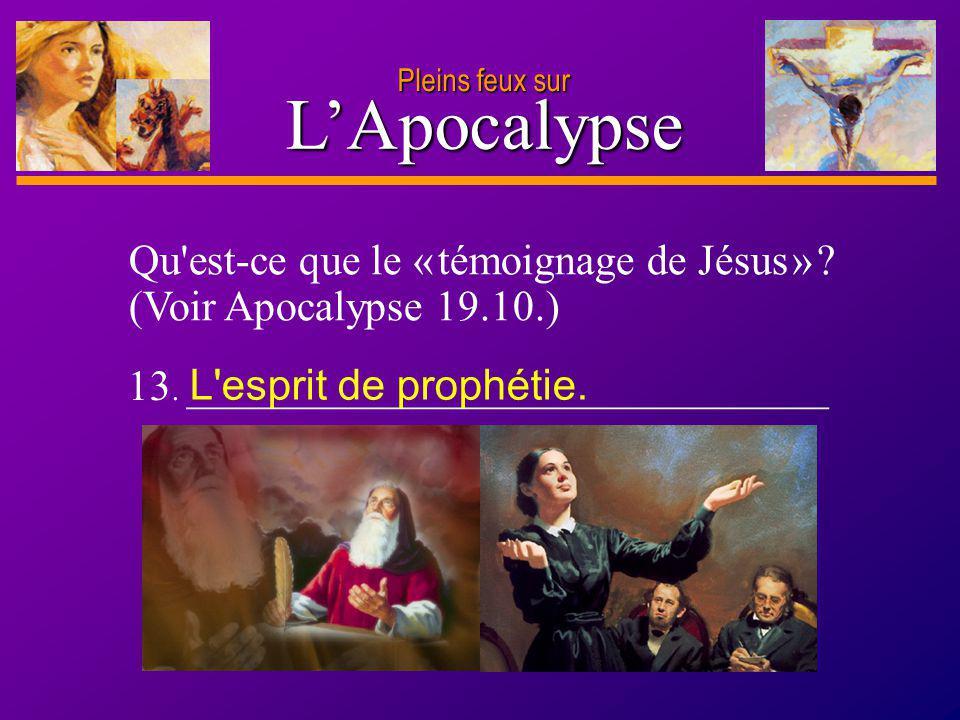 D anie l Pleins feux sur 27 LApocalypse Pleins feux sur Qu'est-ce que le « témoignage de Jésus » ? (Voir Apocalypse 19.10.) 13. ______________________