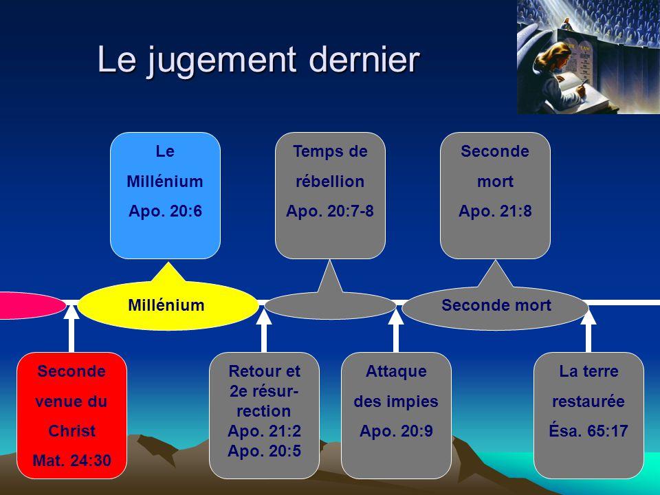 Le jugement dernier Seconde mort Apo. 21:8 Seconde venue du Christ Mat. 24:30 La terre restaurée Ésa. 65:17 Attaque des impies Apo. 20:9 Le Millénium