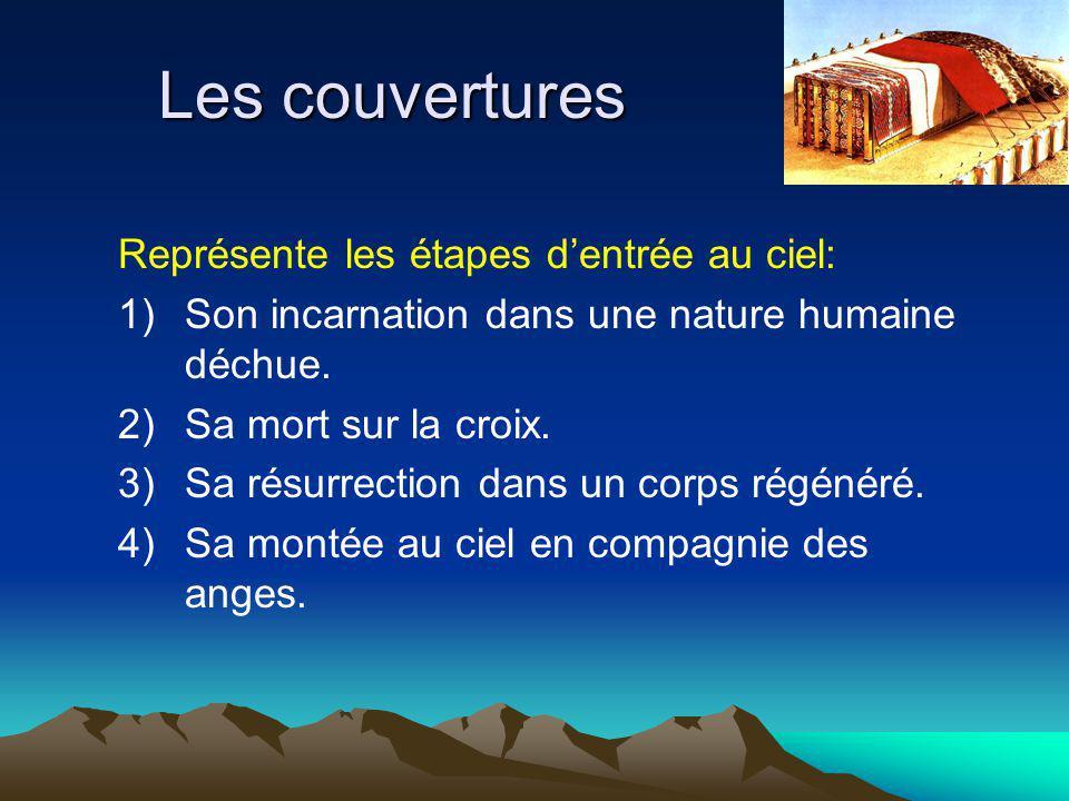 Les couvertures Représente les étapes dentrée au ciel: 1)Son incarnation dans une nature humaine déchue.