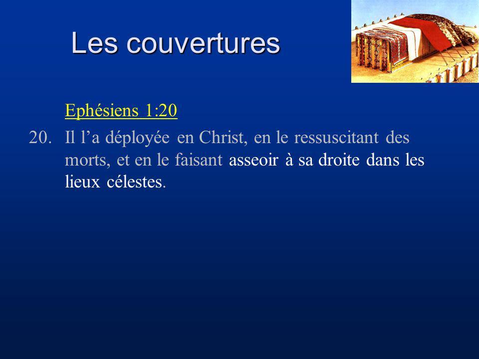 Les couvertures Ephésiens 1:20 20.Il la déployée en Christ, en le ressuscitant des morts, et en le faisant asseoir à sa droite dans les lieux célestes.