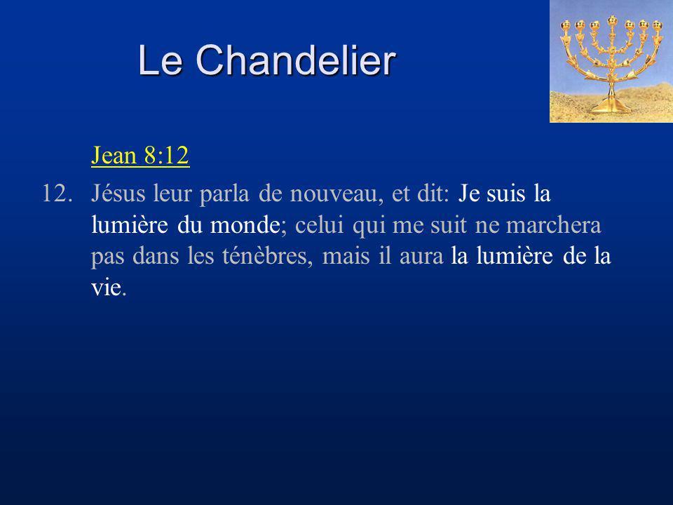 Le Chandelier Jean 8:12 12.Jésus leur parla de nouveau, et dit: Je suis la lumière du monde; celui qui me suit ne marchera pas dans les ténèbres, mais il aura la lumière de la vie.