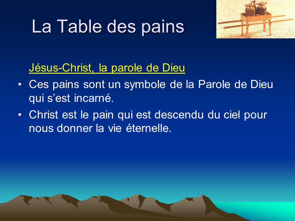 La Table des pains Jésus-Christ, la parole de Dieu Ces pains sont un symbole de la Parole de Dieu qui sest incarné.
