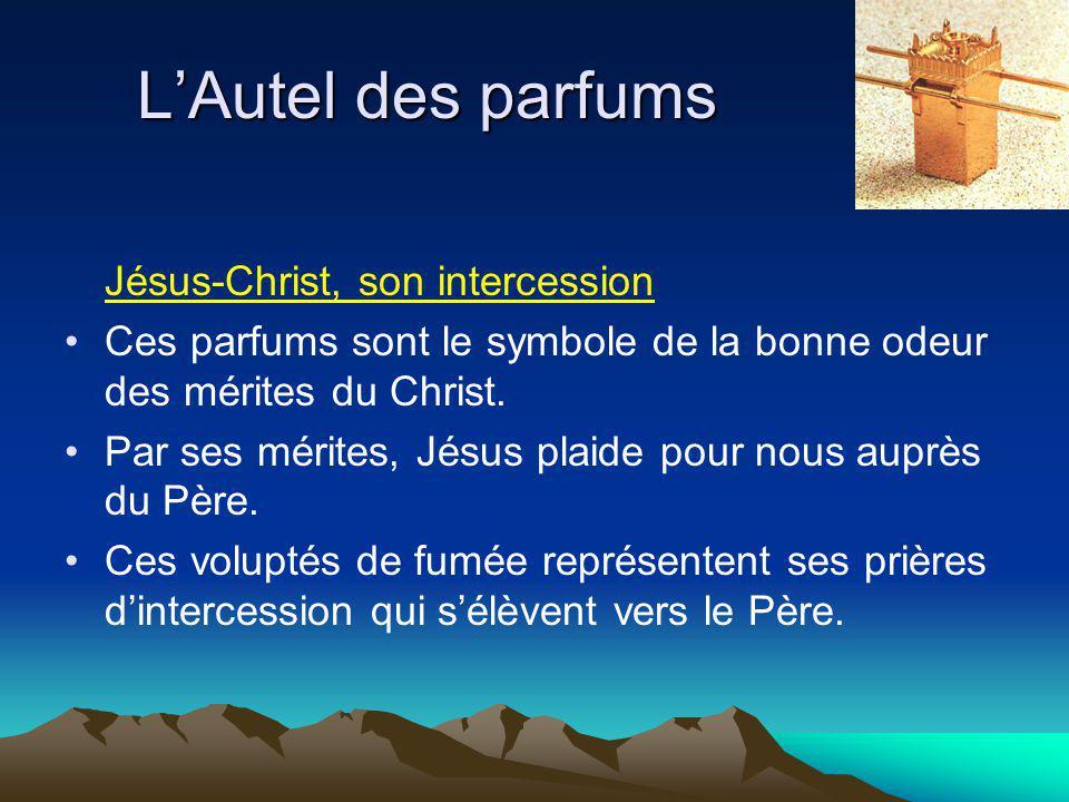 Jésus-Christ, son intercession Ces parfums sont le symbole de la bonne odeur des mérites du Christ.