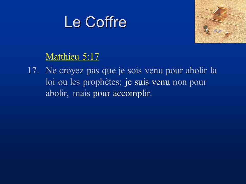Le Coffre Matthieu 5:17 17.Ne croyez pas que je sois venu pour abolir la loi ou les prophètes; je suis venu non pour abolir, mais pour accomplir.