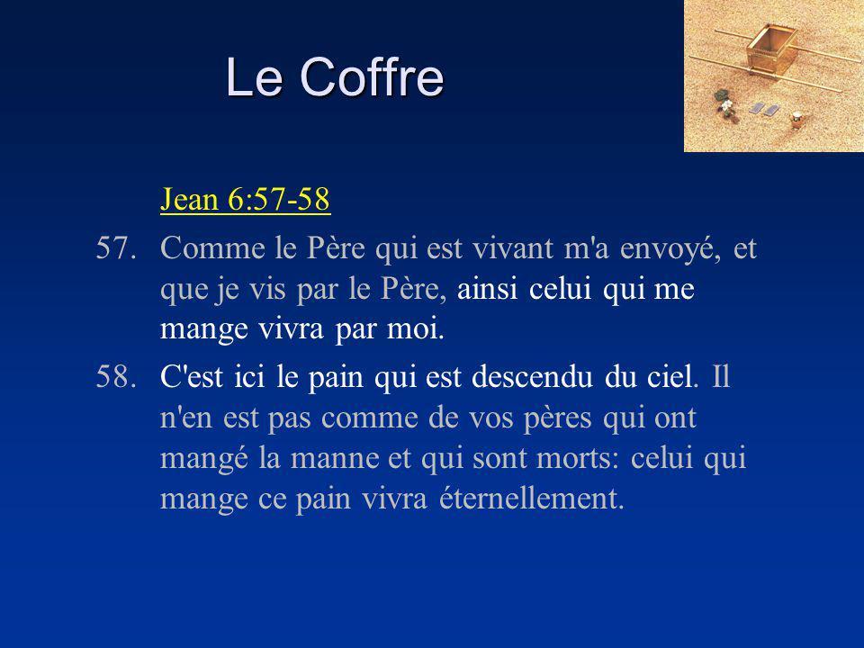 Le Coffre Jean 6:57-58 57.Comme le Père qui est vivant m a envoyé, et que je vis par le Père, ainsi celui qui me mange vivra par moi.