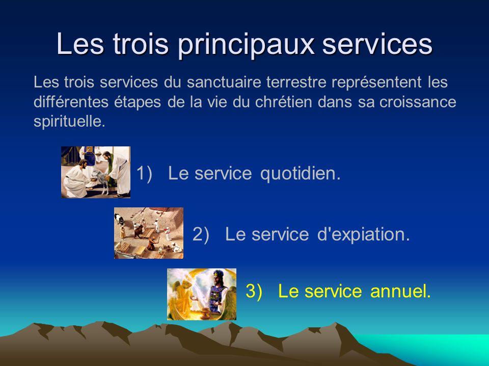 Les trois principaux services 1)Le service quotidien. 2)Le service d'expiation. 3)Le service annuel. Les trois services du sanctuaire terrestre représ