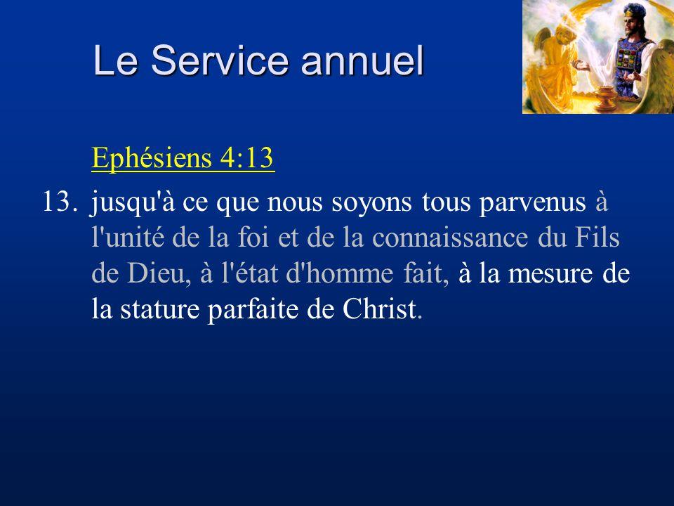 Le Service annuel Ephésiens 4:13 13.jusqu'à ce que nous soyons tous parvenus à l'unité de la foi et de la connaissance du Fils de Dieu, à l'état d'hom