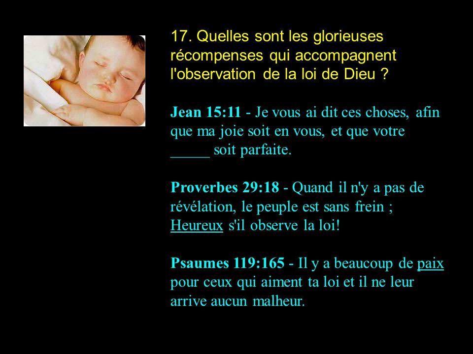 17. Quelles sont les glorieuses récompenses qui accompagnent l'observation de la loi de Dieu ? Jean 15:11 - Je vous ai dit ces choses, afin que ma joi