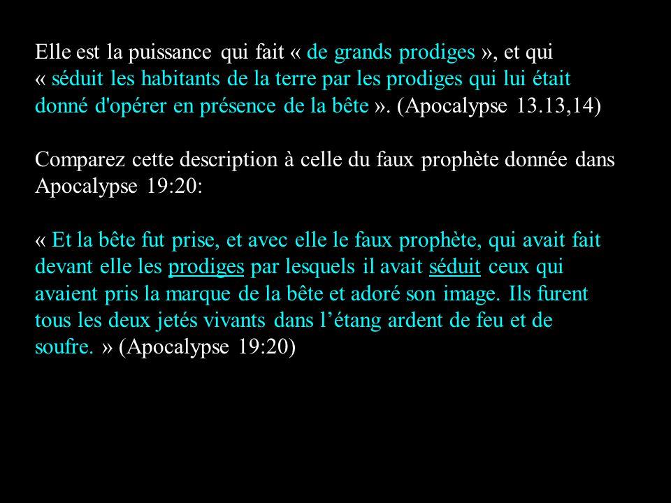 Elle est la puissance qui fait « de grands prodiges », et qui « séduit les habitants de la terre par les prodiges qui lui était donné d'opérer en prés