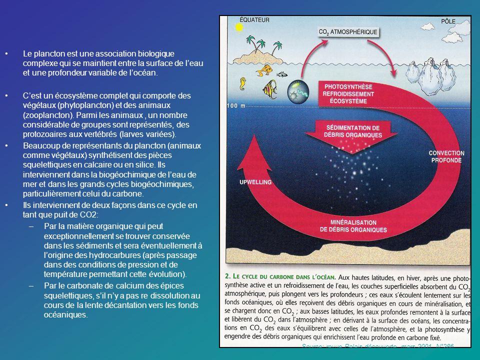 Le plancton est une association biologique complexe qui se maintient entre la surface de leau et une profondeur variable de locéan. Cest un écosystème