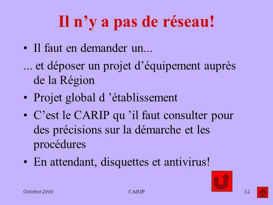 Octobre 2000CARIP12 Il ny a pas de réseau! Il faut en demander un...... et déposer un projet déquipement auprès de la Région Projet global d établisse