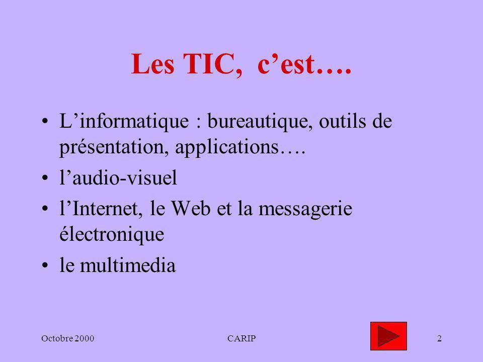 Octobre 2000CARIP2 Les TIC, cest…. Linformatique : bureautique, outils de présentation, applications…. laudio-visuel lInternet, le Web et la messageri