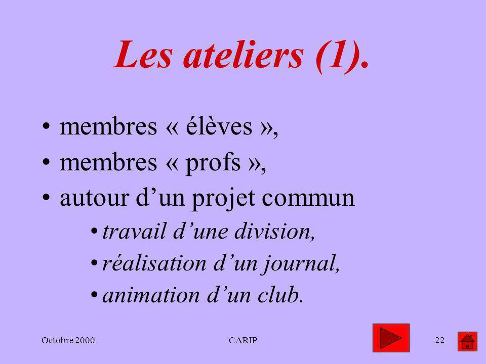 Octobre 2000CARIP22 Les ateliers (1). membres « élèves », membres « profs », autour dun projet commun travail dune division, réalisation dun journal,