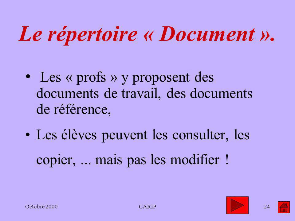 Octobre 2000CARIP24 Le répertoire « Document ».