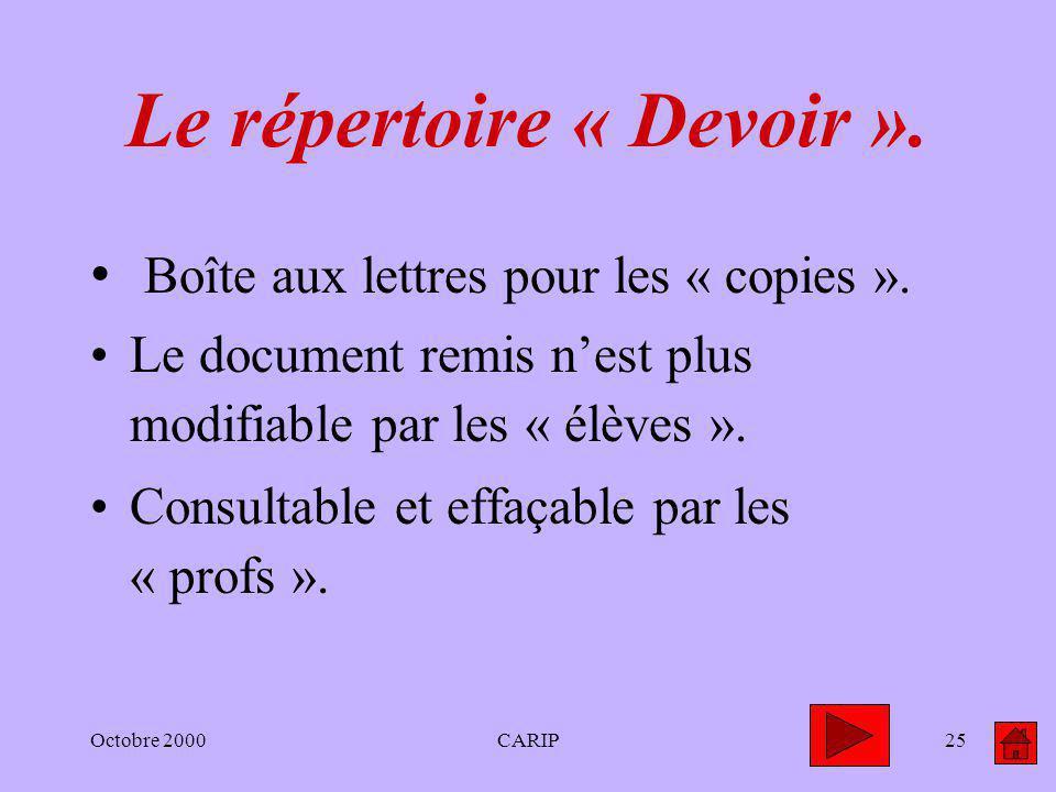 Octobre 2000CARIP25 Le répertoire « Devoir ». Boîte aux lettres pour les « copies ». Le document remis nest plus modifiable par les « élèves ». Consul