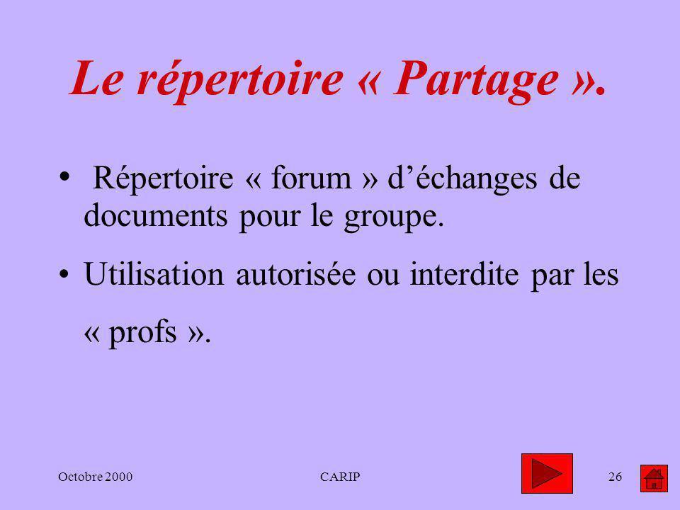 Octobre 2000CARIP26 Le répertoire « Partage ». Répertoire « forum » déchanges de documents pour le groupe. Utilisation autorisée ou interdite par les