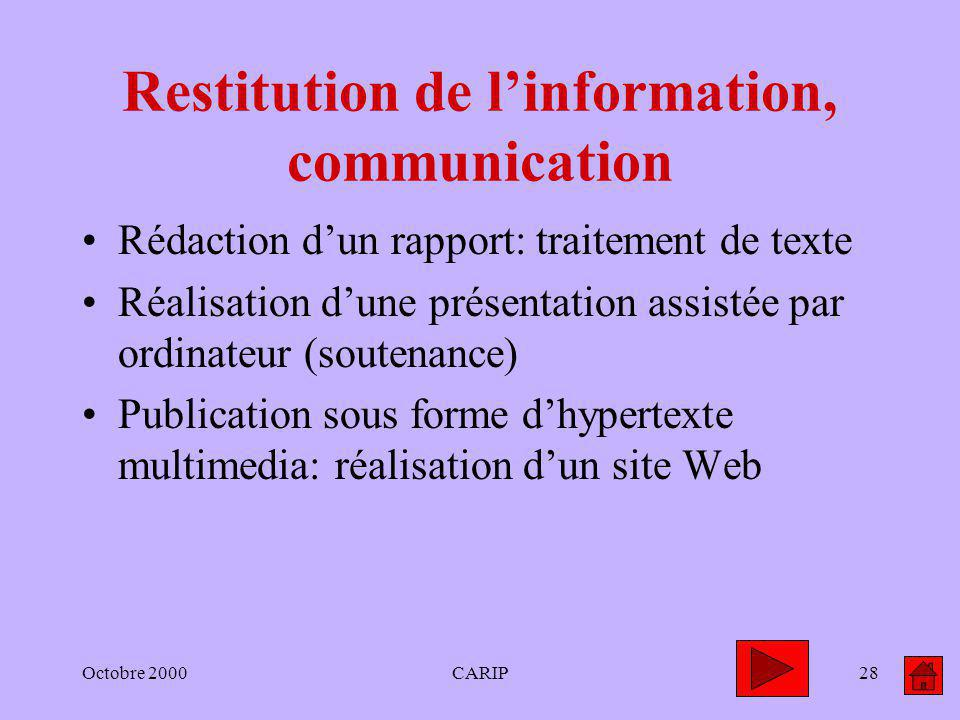 Octobre 2000CARIP28 Restitution de linformation, communication Rédaction dun rapport: traitement de texte Réalisation dune présentation assistée par o