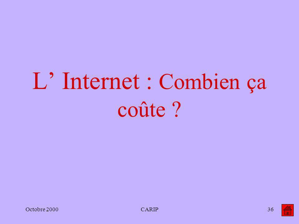 Octobre 2000CARIP36 L Internet : Combien ça coûte ?