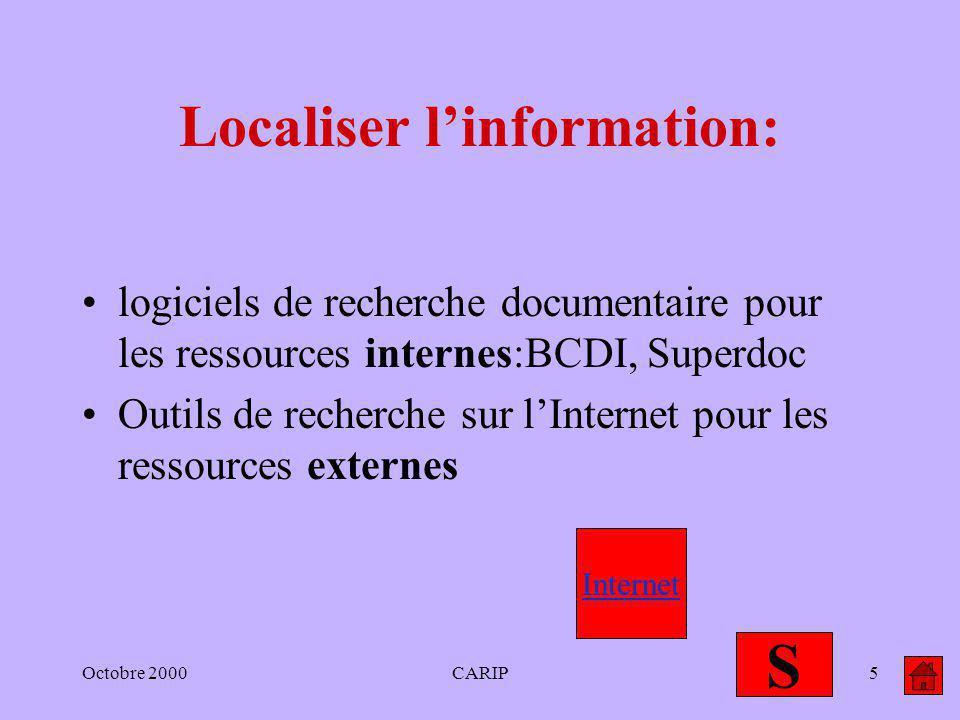 Octobre 2000CARIP5 Localiser linformation: logiciels de recherche documentaire pour les ressources internes:BCDI, Superdoc Outils de recherche sur lIn