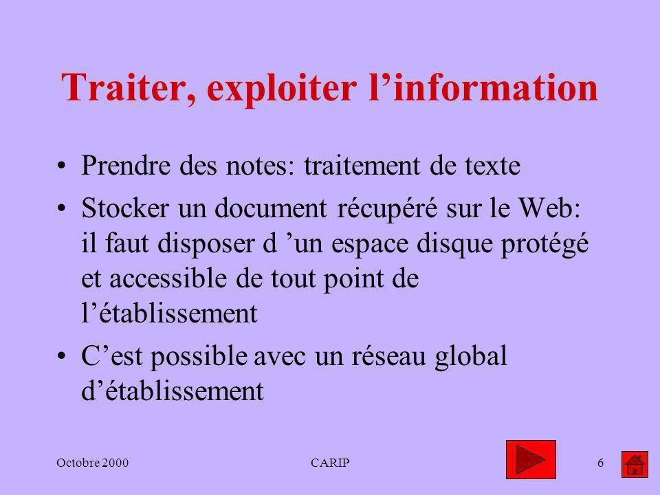 Octobre 2000CARIP6 Traiter, exploiter linformation Prendre des notes: traitement de texte Stocker un document récupéré sur le Web: il faut disposer d