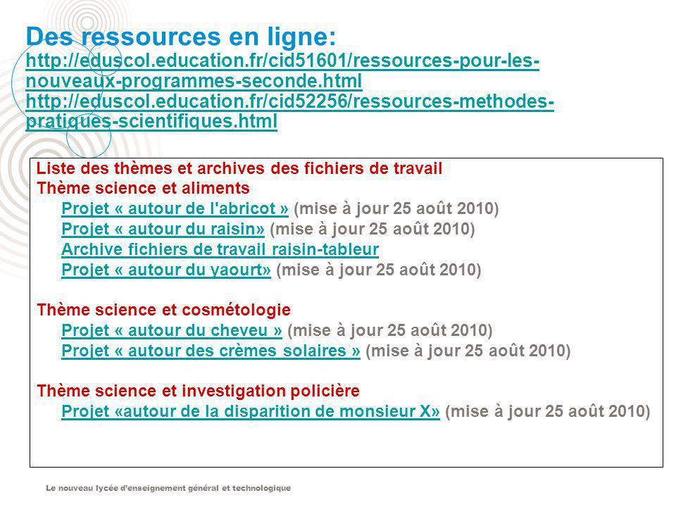 Le nouveau lycée denseignement général et technologique Des ressources en ligne: http://eduscol.education.fr/cid51601/ressources-pour-les- nouveaux-pr