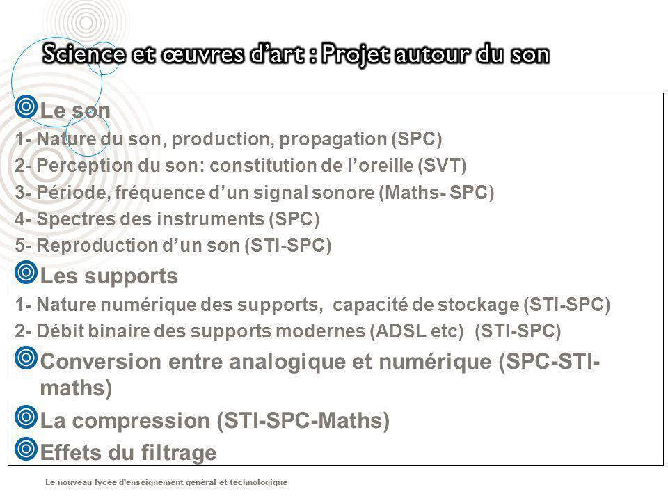 Le nouveau lycée denseignement général et technologique Le son 1- Nature du son, production, propagation (SPC) 2- Perception du son: constitution de l