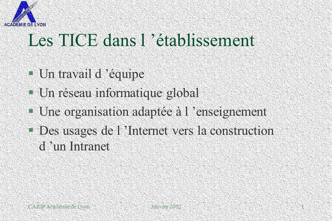 CARIP Académie de LyonJanvier 20021 Les TICE dans l établissement §Un travail d équipe §Un réseau informatique global §Une organisation adaptée à l enseignement §Des usages de l Internet vers la construction d un Intranet
