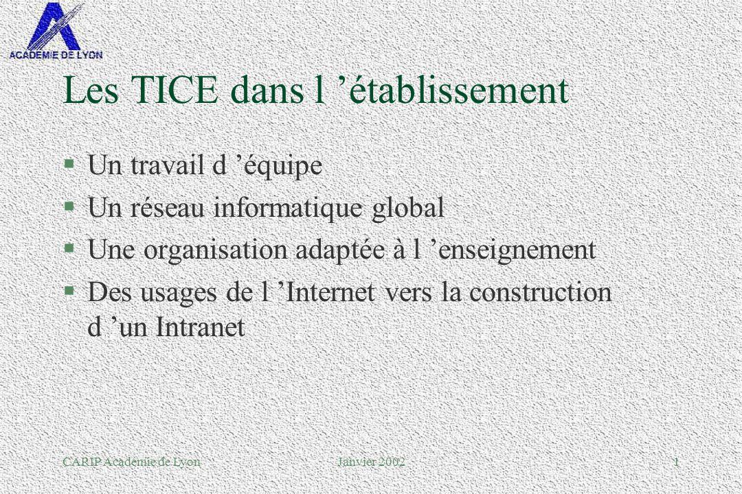 CARIP Académie de LyonJanvier 20022 Les TICE dans un établissement, un travail déquipe...