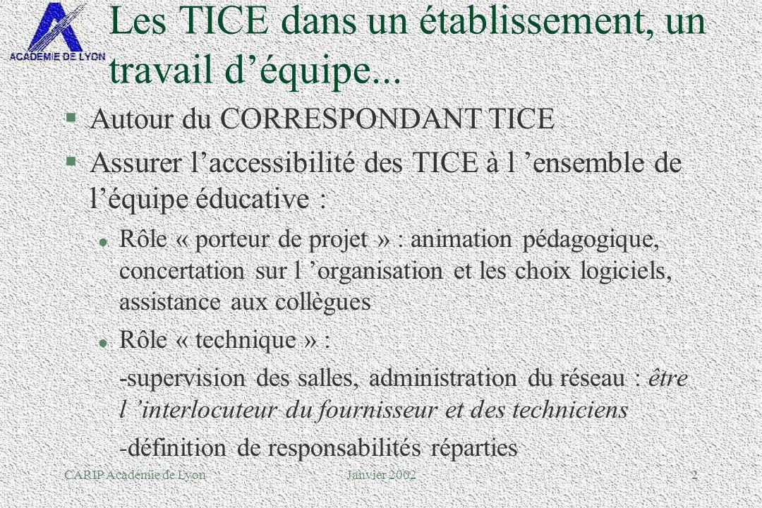 CARIP Académie de LyonJanvier 200243 Pour les personnels administratifs...