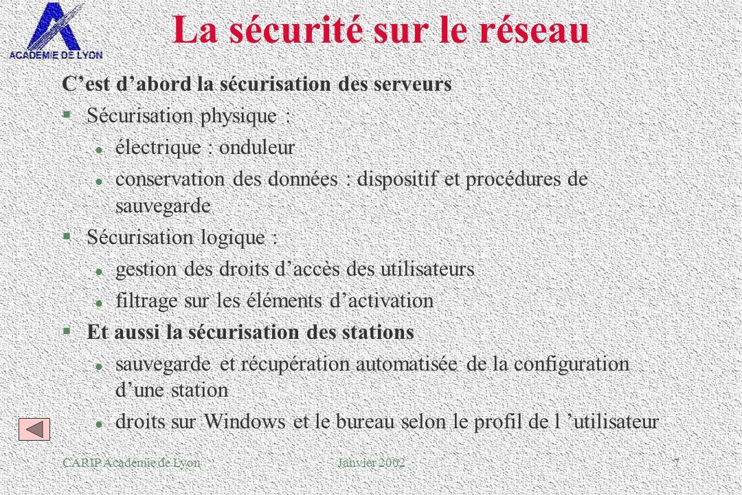 CARIP Académie de LyonJanvier 200238 Pour conclure...