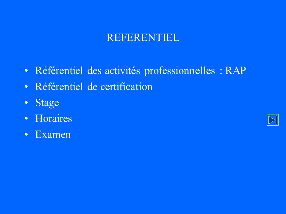 REFERENTIEL Référentiel des activités professionnelles : RAP Référentiel de certification Stage Horaires Examen