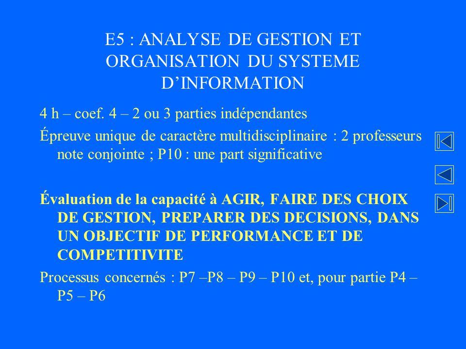 E5 : ANALYSE DE GESTION ET ORGANISATION DU SYSTEME DINFORMATION 4 h – coef. 4 – 2 ou 3 parties indépendantes Épreuve unique de caractère multidiscipli