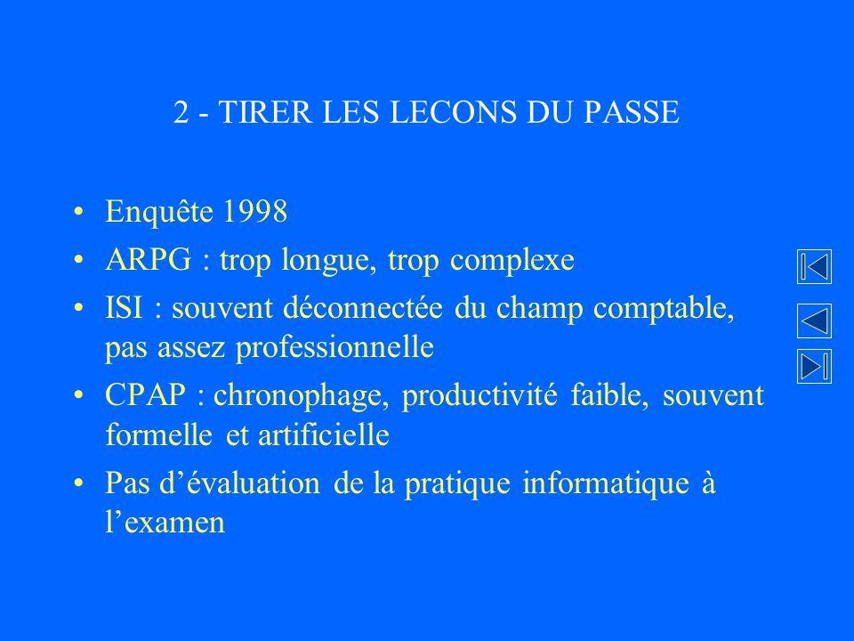 2 - TIRER LES LECONS DU PASSE Enquête 1998 ARPG : trop longue, trop complexe ISI : souvent déconnectée du champ comptable, pas assez professionnelle C