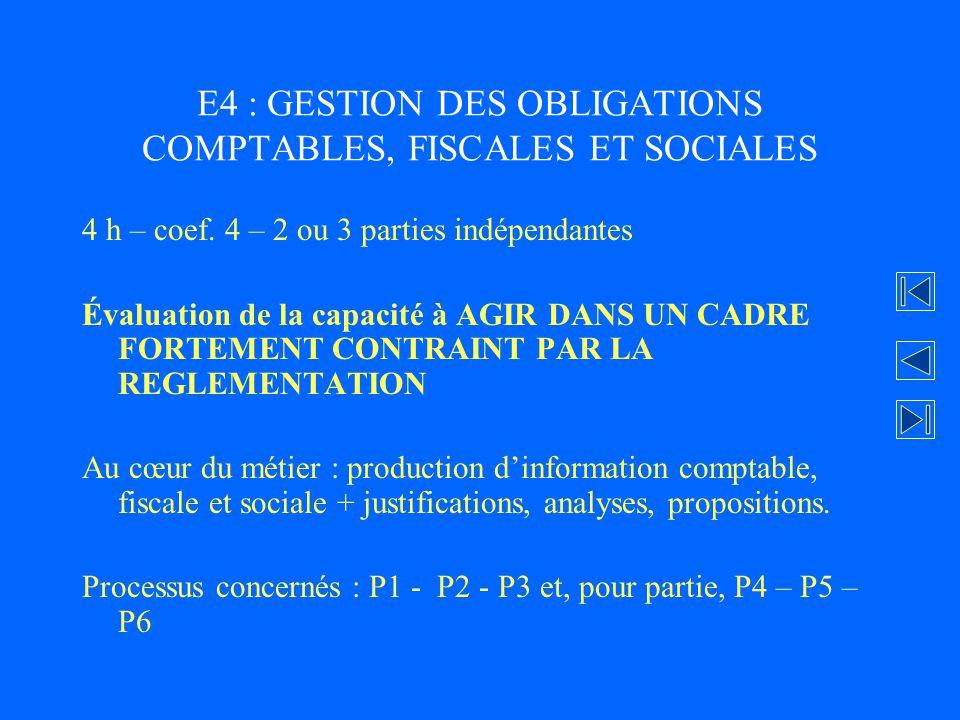 E4 : GESTION DES OBLIGATIONS COMPTABLES, FISCALES ET SOCIALES 4 h – coef. 4 – 2 ou 3 parties indépendantes Évaluation de la capacité à AGIR DANS UN CA