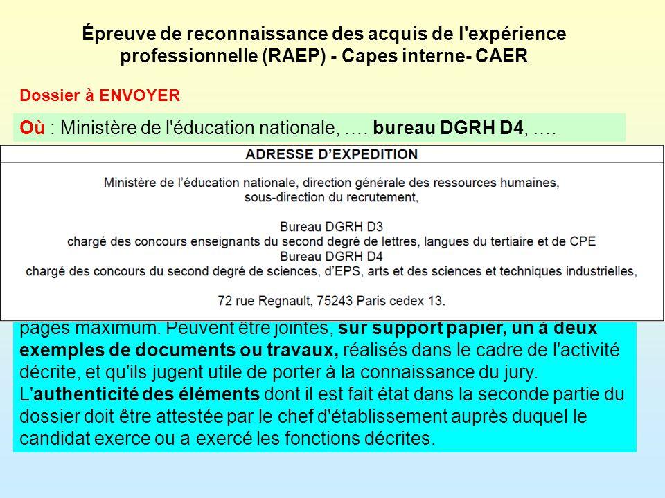 Les épreuves du RAEP Admissibilité sur dossier pédagogique Admission sur oral