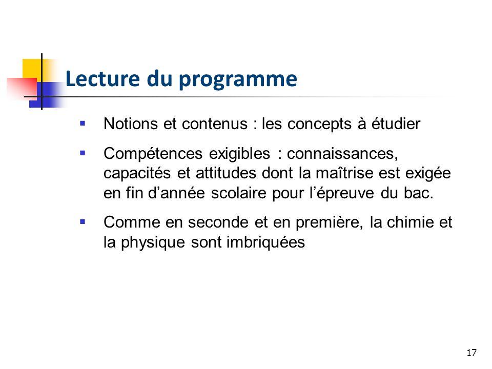 17 Lecture du programme Notions et contenus : les concepts à étudier Compétences exigibles : connaissances, capacités et attitudes dont la maîtrise es