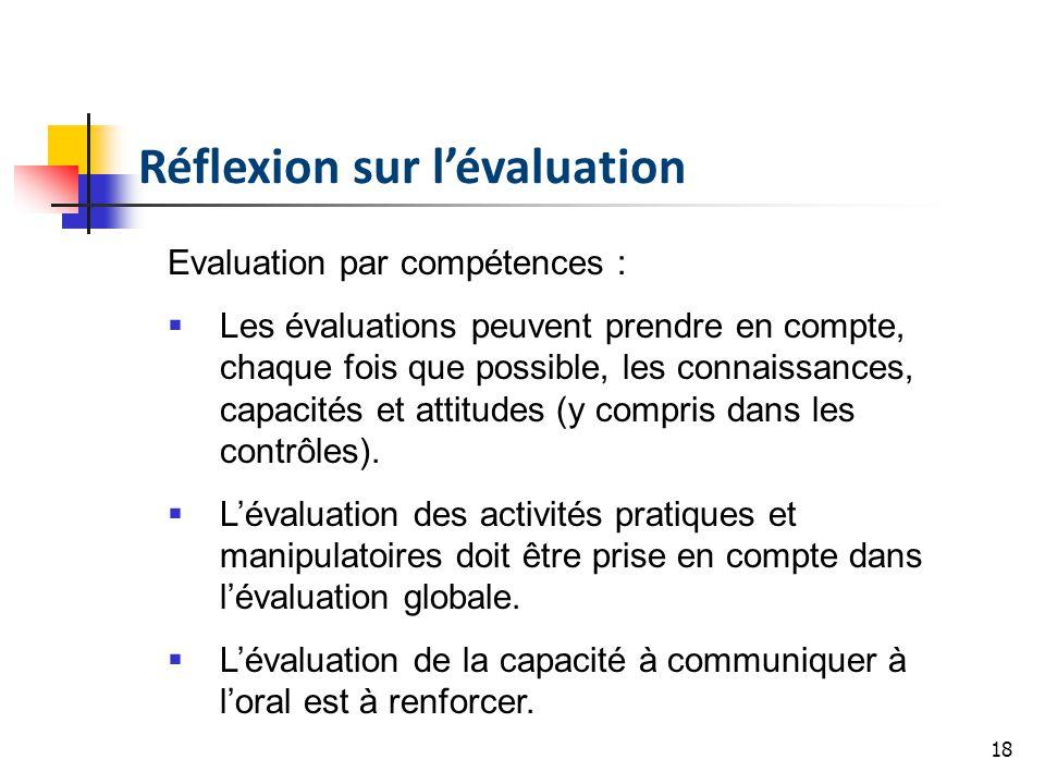 18 Réflexion sur lévaluation Evaluation par compétences : Les évaluations peuvent prendre en compte, chaque fois que possible, les connaissances, capa