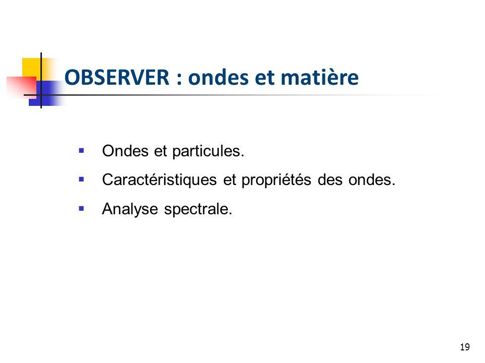 19 OBSERVER : ondes et matière Ondes et particules. Caractéristiques et propriétés des ondes. Analyse spectrale.