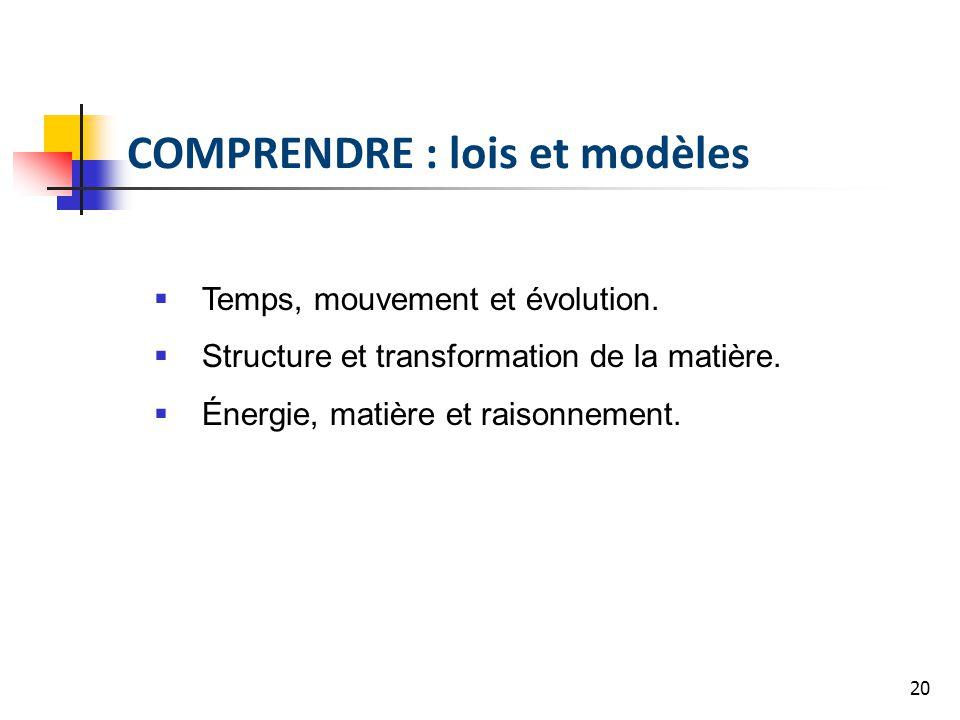 20 COMPRENDRE : lois et modèles Temps, mouvement et évolution. Structure et transformation de la matière. Énergie, matière et raisonnement.