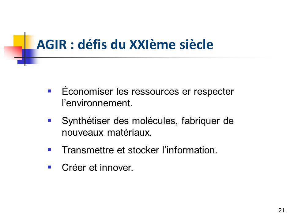 21 AGIR : défis du XXIème siècle Économiser les ressources er respecter lenvironnement. Synthétiser des molécules, fabriquer de nouveaux matériaux. Tr