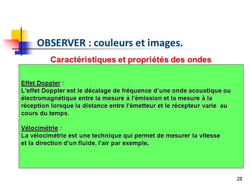 28 Caractéristiques et propriétés des ondes Effet Doppler : L'effet Doppler est le décalage de fréquence dune onde acoustique ou électromagnétique ent