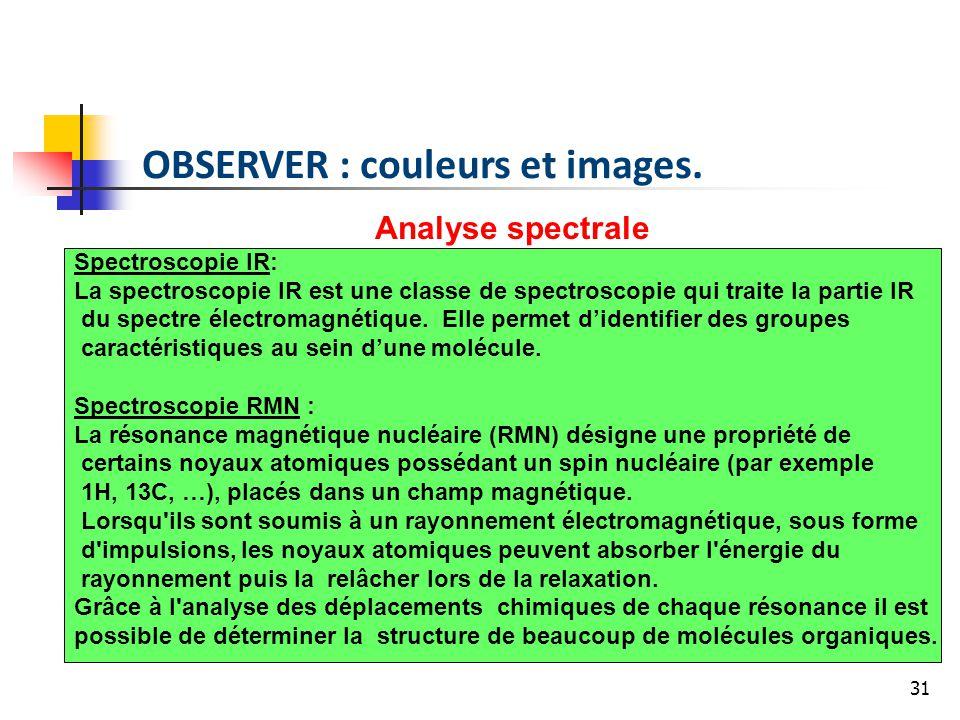 31 Analyse spectrale Spectroscopie IR: La spectroscopie IR est une classe de spectroscopie qui traite la partie IR du spectre électromagnétique.