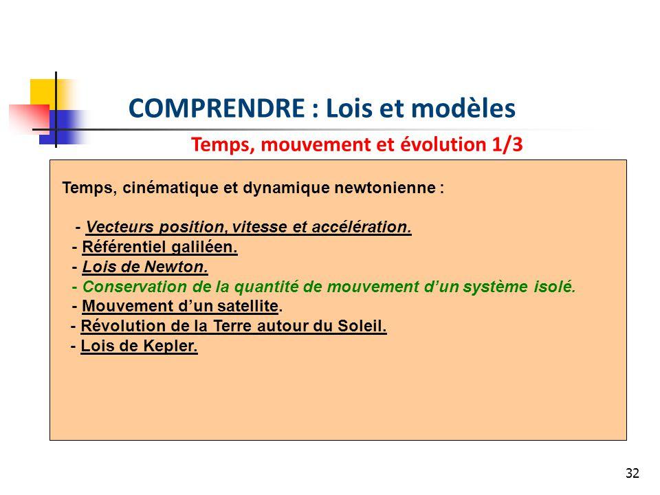 32 COMPRENDRE : Lois et modèles Temps, mouvement et évolution 1/3 Temps, cinématique et dynamique newtonienne : - Vecteurs position, vitesse et accélération.