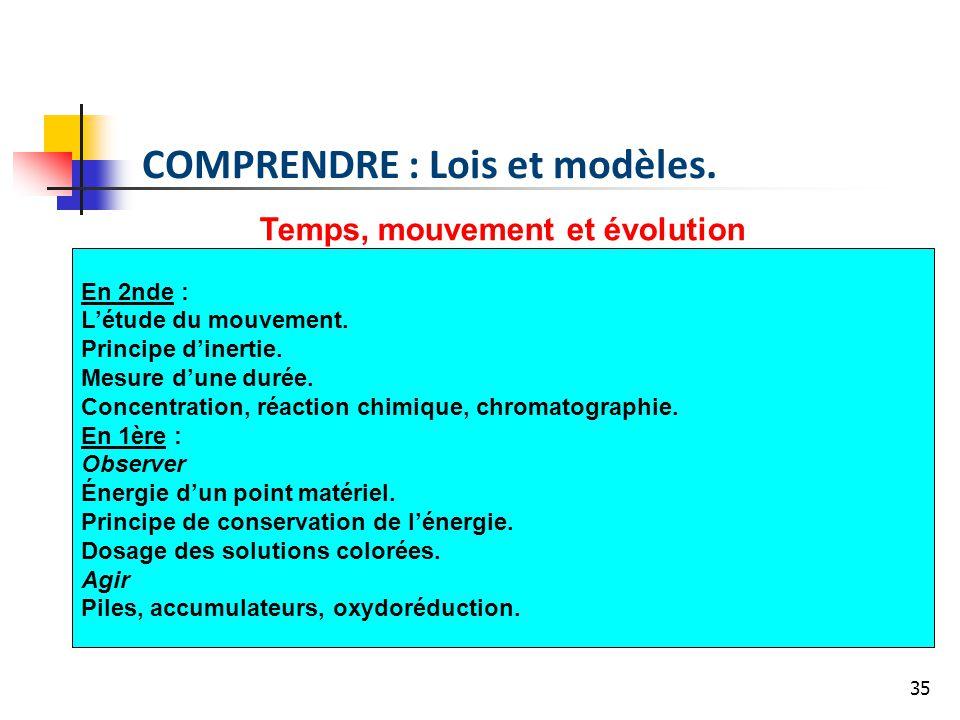 35 Temps, mouvement et évolution En 2nde : Létude du mouvement. Principe dinertie. Mesure dune durée. Concentration, réaction chimique, chromatographi