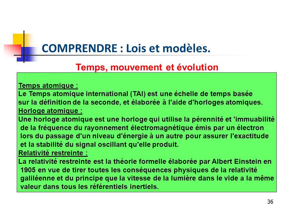 36 Temps, mouvement et évolution Temps atomique : Le Temps atomique international (TAI) est une échelle de temps basée sur la définition de la seconde