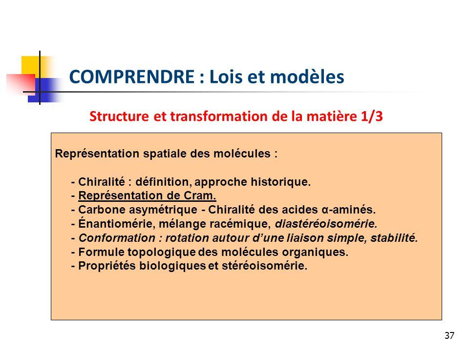 37 COMPRENDRE : Lois et modèles Structure et transformation de la matière 1/3 Représentation spatiale des molécules : - Chiralité : définition, approc